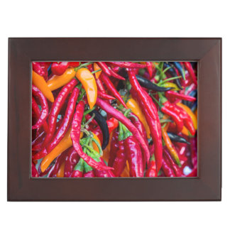Hot Chili Peppers At Farmers Market In Madison Keepsake Box
