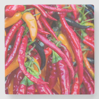 Hot Chili Peppers At Farmers Market In Madison Stone Coaster