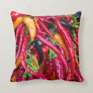 Hot Chili Peppers At Farmers Market In Madison Throw Pillow