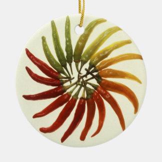 Hot Chili Peppers Round Ceramic Decoration
