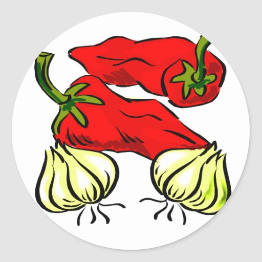 Hot Chilli Pepper and Onion Graphic Round Sticker