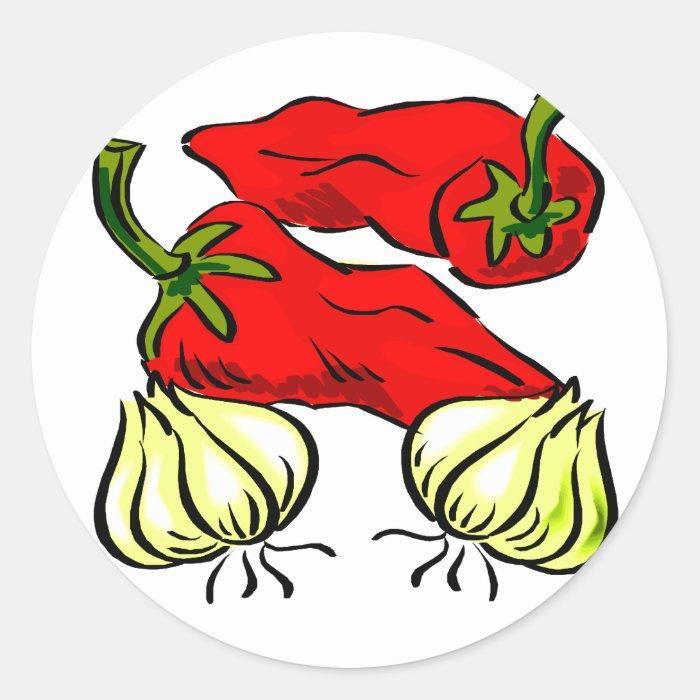 Hot Chilli Pepper and Onion Graphic Round Sticker