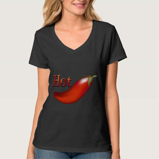 Hot Chilli Pepper Ladies Black T-shirt