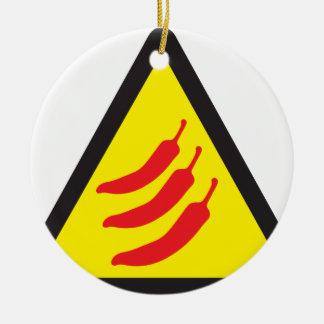 Hot Chilli Pepper Three Warning Sign Round Ceramic Decoration