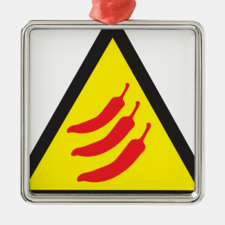 Hot Chilli Pepper Three Warning Sign Silver-Colored Square Decoration