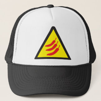 Hot Chilli Pepper Three Warning Sign Trucker Hat