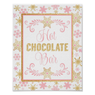 Hot Chocolate Bar Poster- Pink Gold Snowflakes Poster