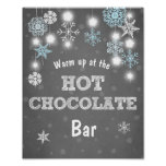 Hot Chocolate Bar Sign Blue snowflakes Rustic