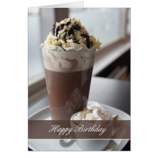 hot chocolate birthday greeting card