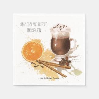 Hot Chocolate Cinnamon Orange Season Greetings Paper Serviettes