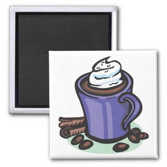 hot chocolate cocoa square magnet