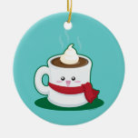 Hot Chocolate Double-Sided Ceramic Round Christmas Ornament