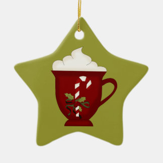 Hot Chocolate Lover Red with Green Christmas Ornament