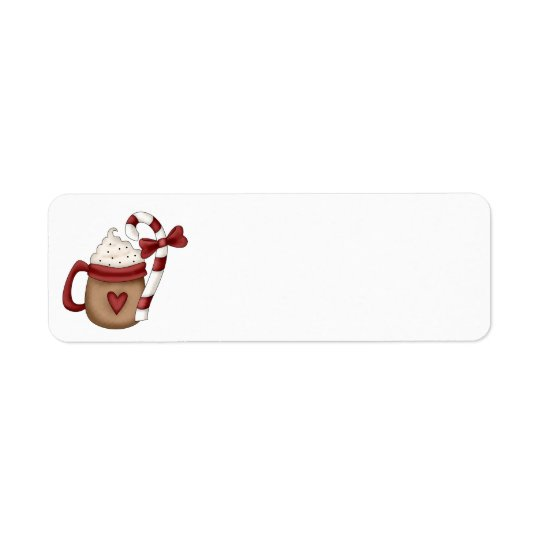 hot cocoa and candy cane return address label