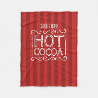 Hot Cocoa with Red Stripes Add Your Name Fleece Blanket