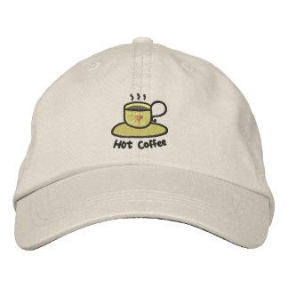 Hot coffee black outline baseball cap