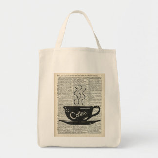 Hot Coffee Cup Grocery Tote Bag