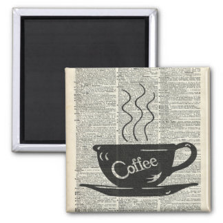 Hot Coffee Cup Square Magnet
