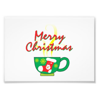 Hot Coffee Cup with Merry Christmas Greeting Cards Photographic Print