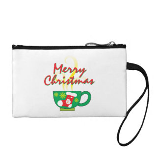 Hot Coffee Cup with Merry Christmas Hat Button Bag Change Purses