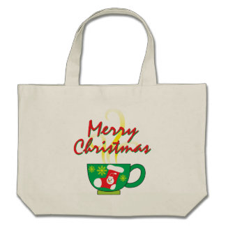Hot Coffee Cup with Merry Christmas Hat Button Bag