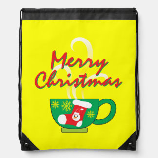Hot Coffee Cup with Merry Christmas Hat Button Bag Drawstring Backpack