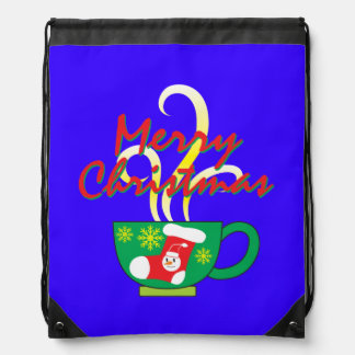 Hot Coffee Cup with Merry Christmas Hat Button Bag Rucksacks