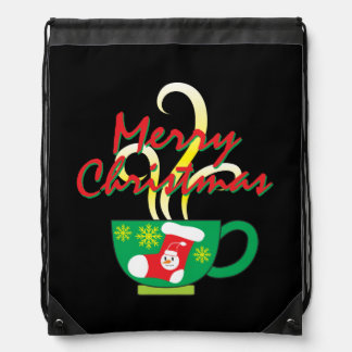 Hot Coffee Cup with Merry Christmas Hat Button Bag Backpack