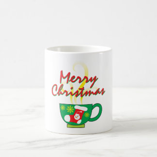 Hot Coffee Cup with Merry Christmas Hat Button Bag Basic White Mug