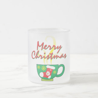 Hot Coffee Cup with Merry Christmas Hat Button Bag Frosted Glass Mug