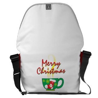 Hot Coffee Cup with Merry Christmas Hat Button Bag Courier Bags