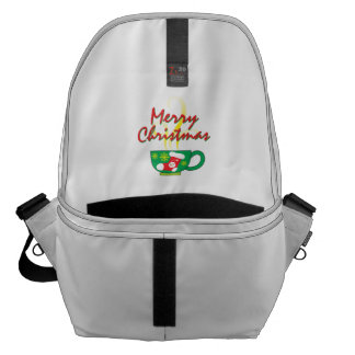 Hot Coffee Cup with Merry Christmas Hat Button Bag Messenger Bags