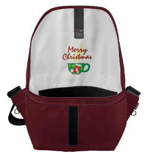 Hot Coffee Cup with Merry Christmas Hat Button Bag Messenger Bag