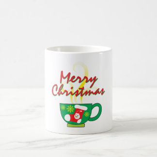 Hot Coffee Cup with Merry Christmas Hat Button Bag Morphing Mug