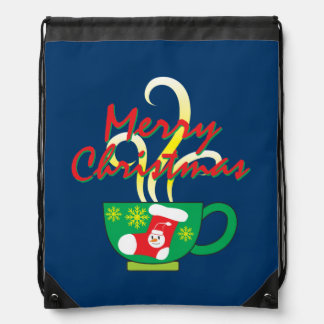 Hot Coffee Cup with Merry Christmas Hat Button Bag Cinch Bag