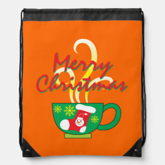 Hot Coffee Cup with Merry Christmas Hat Button Bag Drawstring Bag