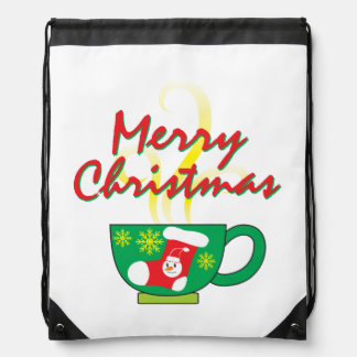 Hot Coffee Cup with Merry Christmas Hat Button Bag Drawstring Backpacks