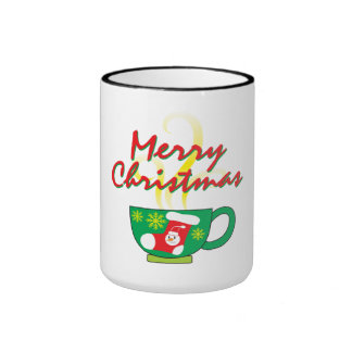 Hot Coffee Cup with Merry Christmas Hat Button Bag Ringer Mug