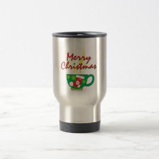 Hot Coffee Cup with Merry Christmas Hat Button Bag Stainless Steel Travel Mug