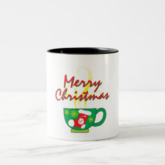 Hot Coffee Cup with Merry Christmas Hat Button Bag Two-Tone Mug
