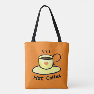 hot coffee drink tote bag