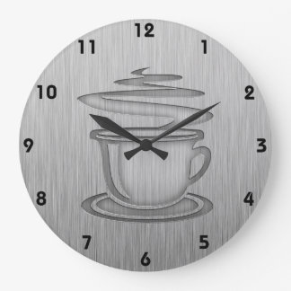 Hot Coffee; Metal-look Clock