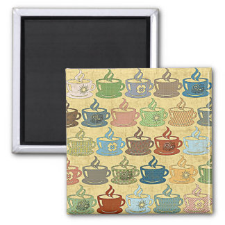 HOT COFFEE OR TEA SQUARE MAGNET