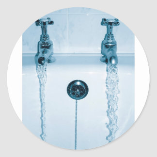 Hot & Cold Water, Bath time, Running Faucets Round Sticker