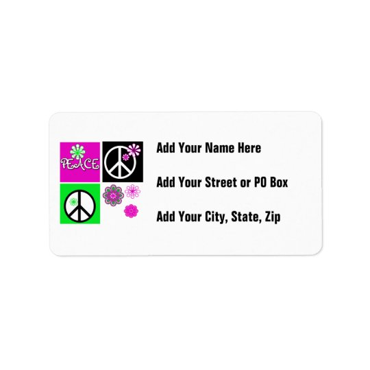 Hot Colours Peace T-shirts and Gifts Address Label