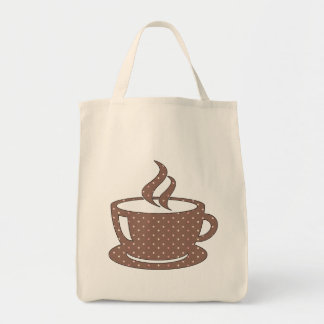 HOT CUP OF COFFEE GROCERY TOTE BAG