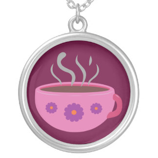Hot Cup of Coffee Round Pendant Necklace