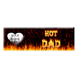 Hot dad fire and red marble heart pack of skinny business cards