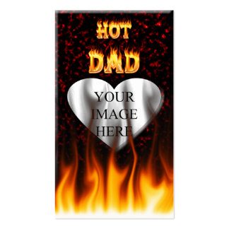 Hot dad fire and red marble heart pack of standard business cards