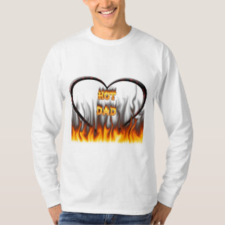 Hot dad fire and red marble heart T-Shirt